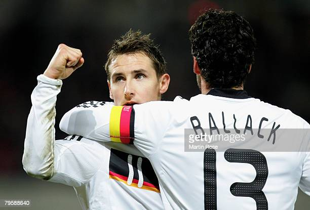 Miroslav Klose of Germany celebrate with team mate Michael Ballack after he scores the 2nd goal during the friendly match between Austria and Germany...