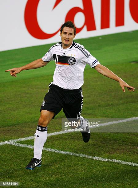 Miroslav Klose of Germany celebrates after scoring his teams second goal during the UEFA EURO 2008 Quarter Final match between Portugal and Germany...