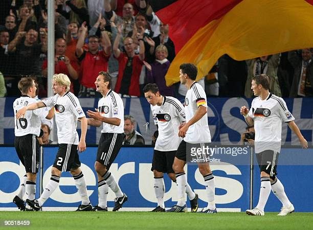 Miroslav Klose of Germany celebrates after scoring his team's second goal during the FIFA 2010 World Cup Group 4 Qualifier match between Germany and...