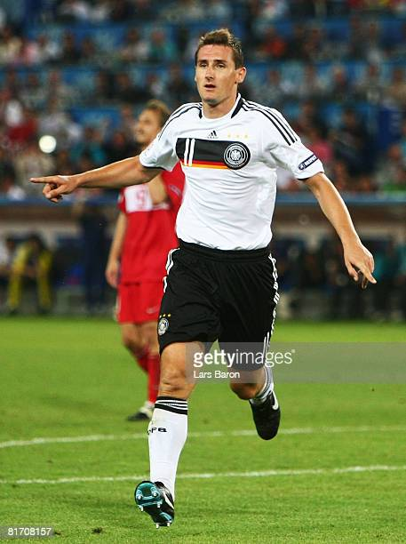 Miroslav Klose of Germany celebrates his goal against Turkey during the UEFA EURO 2008 Semi Final match between Germany and Turkey at St JakobPark on...