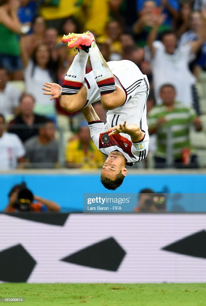 Miroslav Klose of Germany celebrates scoring his team's second goal during the 2014 FIFA World Cup Brazil Group G match between Germany and Ghana at Castelao on June 21, 2014 in Fortaleza, Brazil.