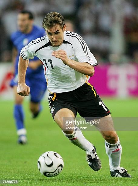 Miroslav Klose of Germany in action during the FIFA World Cup Germany 2006 Semifinal match between Germany and Italy played at the Stadium Dortmund...
