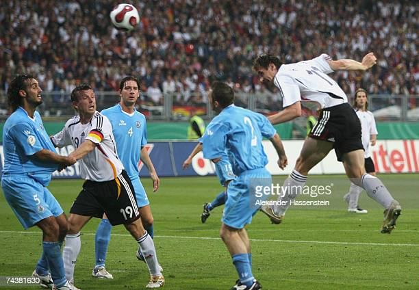 Miroslav Klose of Germany in action during the UEFA EURO 2008 qualifier between Germany and San Marino at the Easy Credit stadium on June 2007 in...