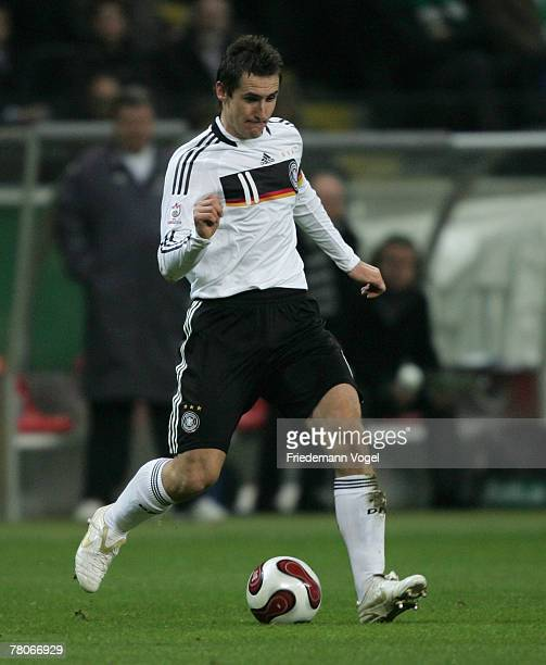 Miroslav Klose of Germany in action during the UEFA Euro2008 Group D qualifying match between Germany and Wales at the Commerzbank Arena on November...