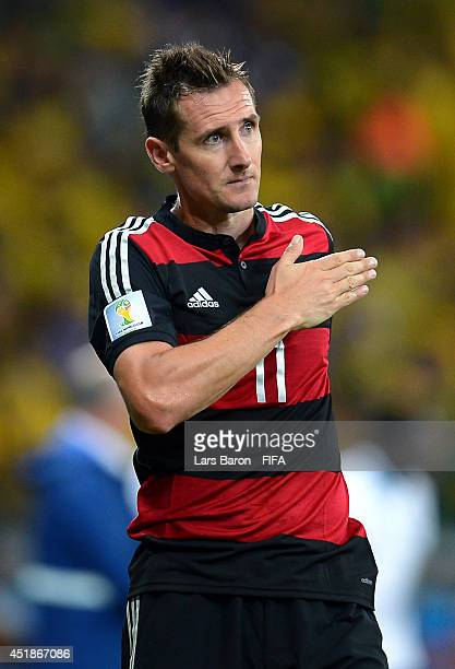 Miroslav Klose of Germany is seen after being replaced during the 2014 FIFA World Cup Brazil Semi Final match between Brazil and Germany at Estadio...