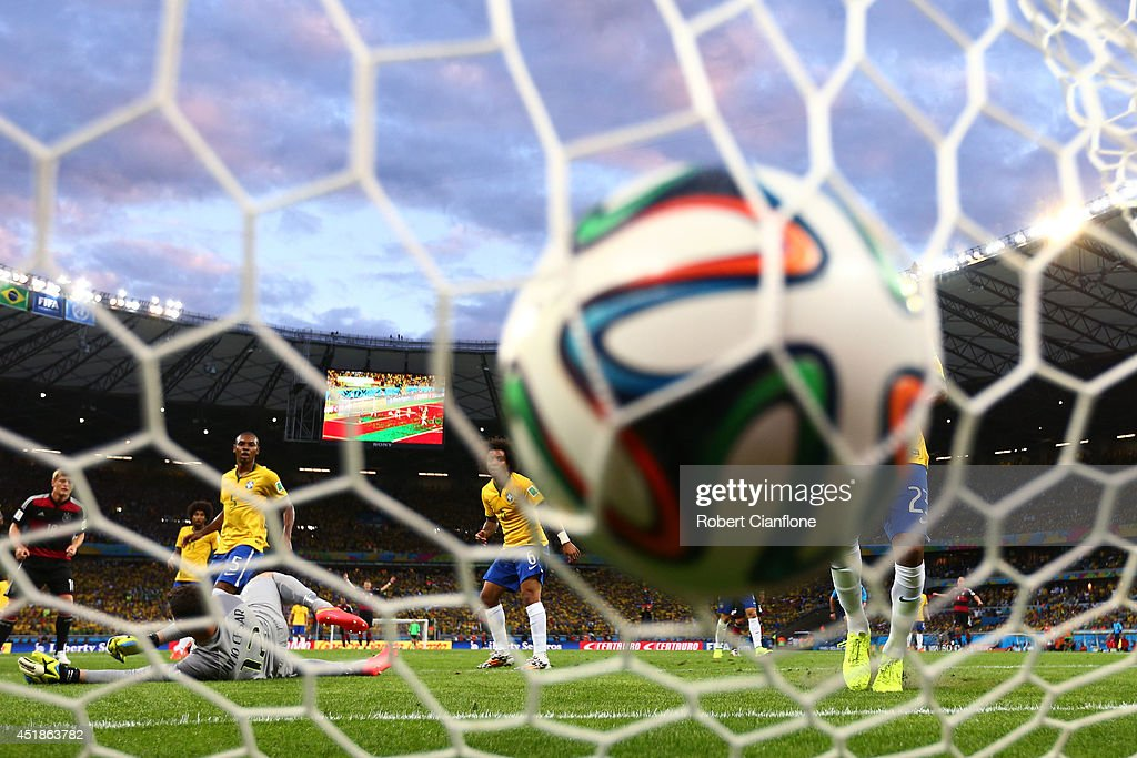 Miroslav Klose of Germany (not pictured) scores his team's second goal past Julio Cesar of Brazil during the 2014 FIFA World Cup Brazil Semi Final match between Brazil and Germany at Estadio Mineirao on July 8, 2014 in Belo Horizonte, Brazil.