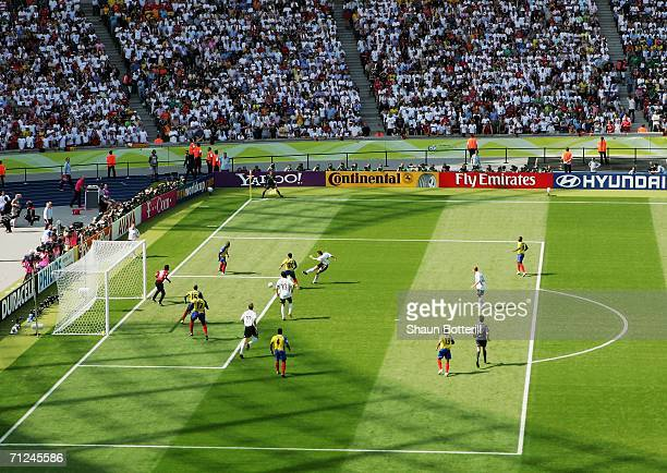 Miroslav Klose of Germany scores the opening goal during the FIFA World Cup Germany 2006 Group A match between Ecuador and Germany played at the...