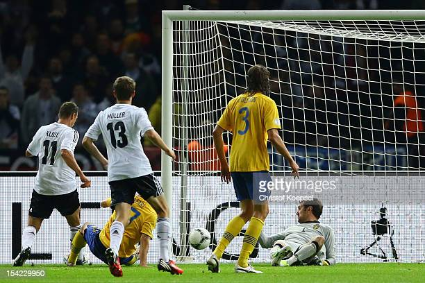 Miroslav Klose of Germany scores the second goal during the FIFA 2014 World Cup qualifier group C match between German and Sweden at Olympiastadion...