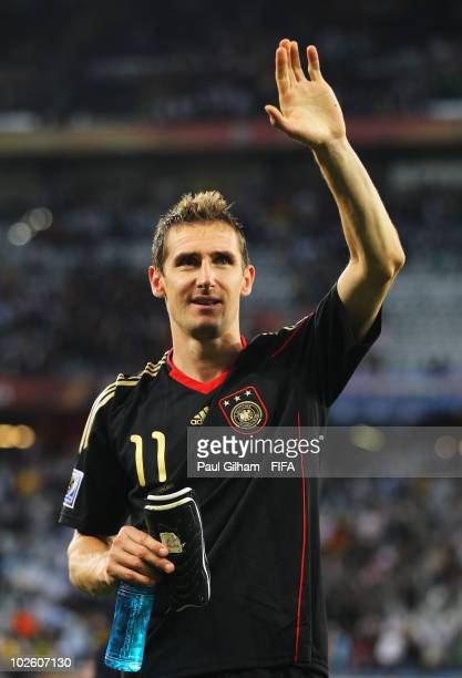 Miroslav Klose of Germany waves to fans after the 2010 FIFA World Cup South Africa Quarter Final match between Argentina and Germany at Green Point...
