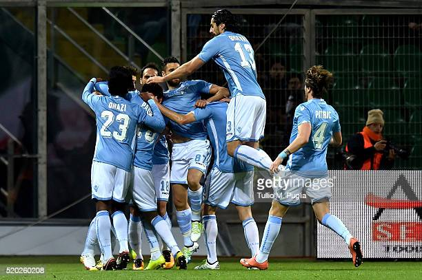 Miroslav Klose of Lazio celebrates with teammates after scoring the opening goal during the Serie A match between US Citta di Palermo and SS Lazio at...