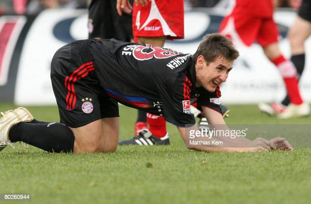 Miroslav Klose of Munich looks dejected during the Bundesliga match between FC Energie Cottbus and FC Bayern Munich at the Stadion der Freundschaft...
