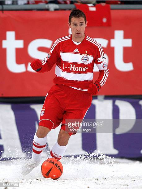 Miroslav Klose of Munich runs with the ball during the friendly match between FC Eintracht Bamberg and FC Bayern Muenchen on January 17 2009 at the...