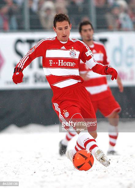 Miroslav Klose of Munich runs with the ball during the friendly match between FC Eintracht Bamberg and FC Bayern Muenchen on January 17, 2009 at the...