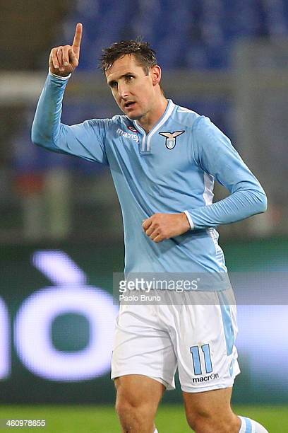 Miroslav Klose of SS Lazio celebrates after scoring the opening goal during the Serie A match between SS Lazio and FC Internazionale Milano at Stadio...