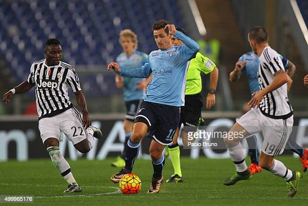 Miroslav Klose of SS Lazio competes for the ball with Juventus FC players during the Serie A match between SS Lazio and Juventus FC at Stadio...