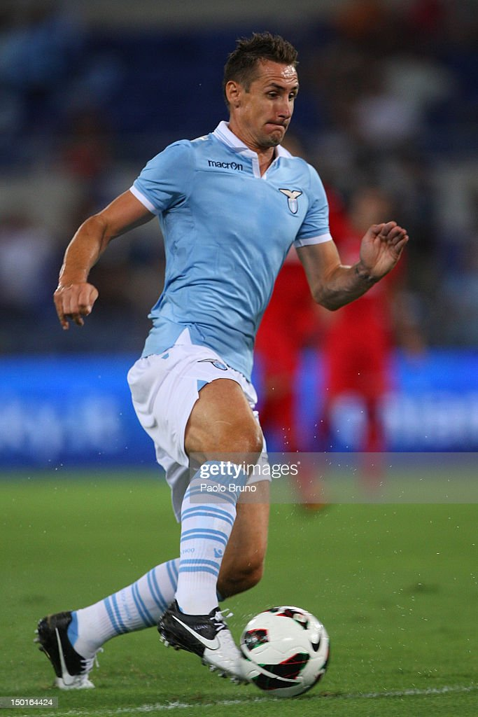 Miroslav Klose of SS Lazio in action during the pre-season friendly match between SS Lazio and Getafe CF at Olimpico Stadium on August 11, 2012 in Rome, Italy.