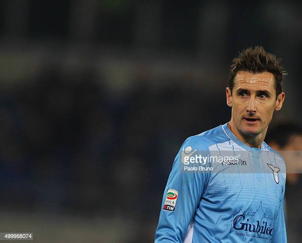 Miroslav Klose of SS Lazio looks on during the Serie A match between SS Lazio and Juventus FC at Stadio Olimpico on December 4 2015 in Rome Italy