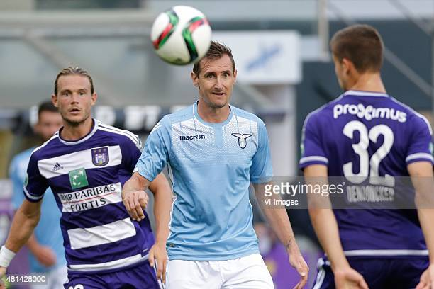 Miroslav Klose of SS Lazio Roma Leander Dendoncker of Anderlecht during the preseason friendly match between RSC Anderlecht and SS Lazio Roma on July...