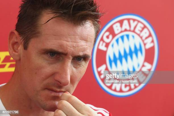 Miroslav Klose of the FC Bayern Muenchen Legends attends the FC Bayern International Fanclub Tournament at Singapore Padang Field at the Singapore...