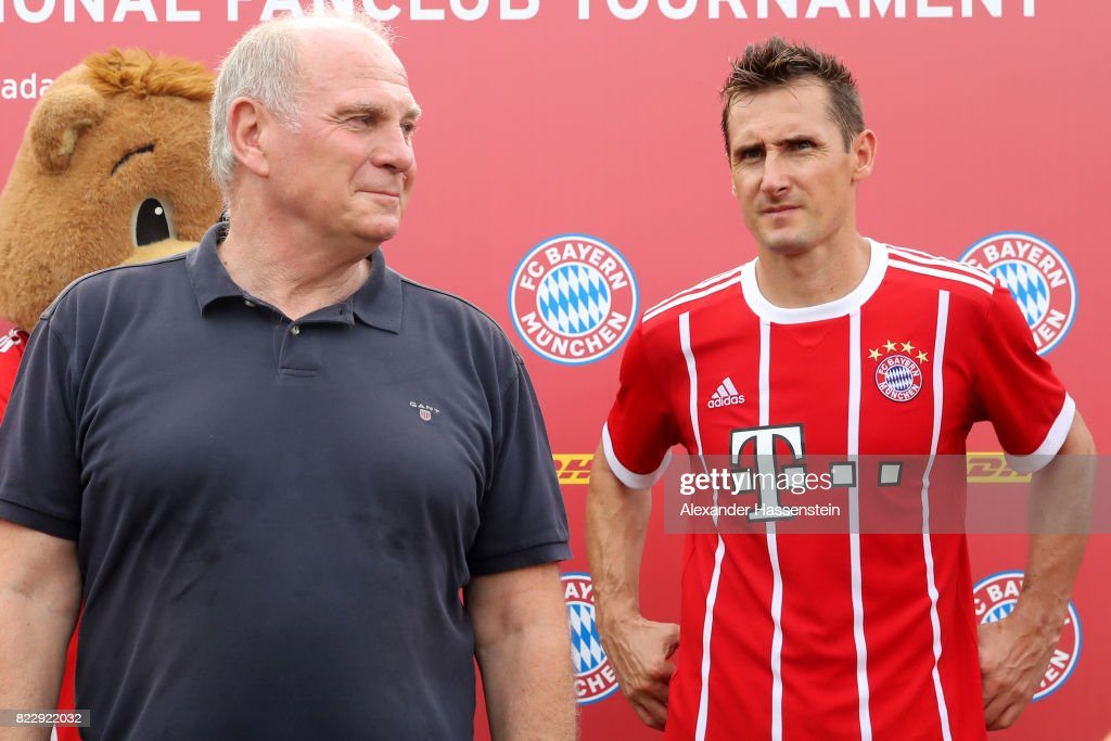 Miroslav Klose of the FC Bayern Muenchen Legends attends with Uli Hoeness, President of FC Bayern Muenchen the FC Bayern International Fanclub Tournament at Singapore Padang Field at the Singapore Cricket Club during the Audi Summer Tour 2017 on July 26, 2017 in Singapore.