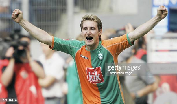 Miroslav Klose of Werder celebrtaes after the winning Bundesliga match between Hamburg SV and Werder Bremen at the AOL Arena on May 13, 2006 in...