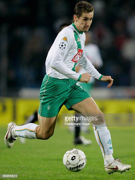 Miroslav Klose of Werder in action during the Champions League Group C match between Udine Calcio and Werder Bremen at the Friuli Stadium on October...