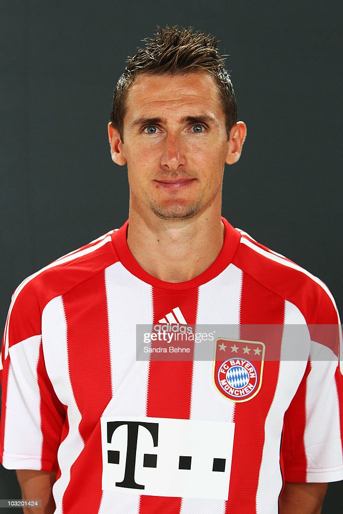 Miroslav Klose poses during the FC Bayern Muenchen team presentation at Bayern's training ground Saebener Strasse on August 2, 2010 in Munich, Germany.