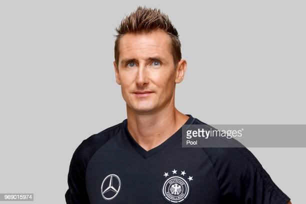 Miroslav Klose poses for a photo during a portrait session ahead of the 2018 FIFA World Cup Russia at Eppan training ground on June 5 2018 in Eppan...