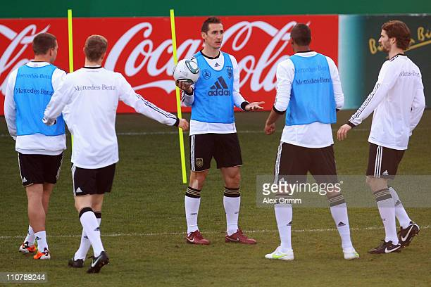 Miroslav Klose reacts during a training session of the German national football team ahead of their Euro 2012 qualifying match against Kazakhstan at...