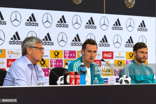 Miroslav Klose talks to the media during the final press conference at the DFB media center on June 7 2018 in Eppan Italy