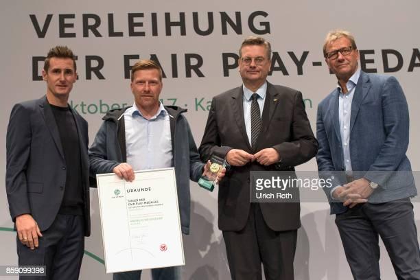 Miroslav Klose Winner Professional Section Andreas Neuendorf DFBPresident Reinhard Grindel Guido Buchwald during the Fair Play Medal Awarding...