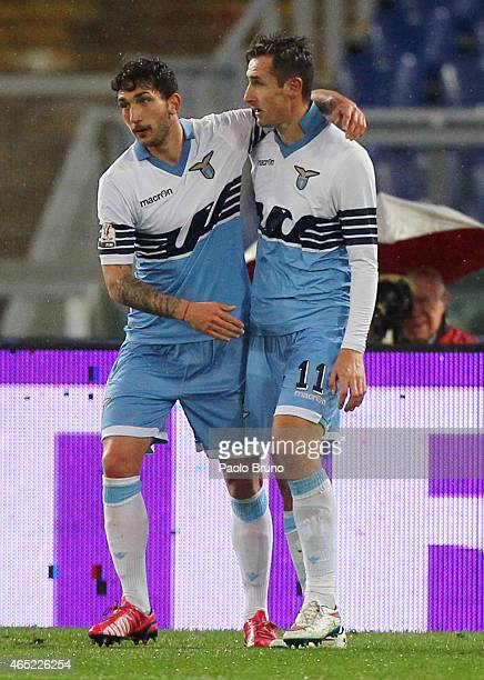 Miroslav Klose with his teammate Danilo Cataldi of SS Lazio celebrates after scoring the opening goal during the TIM Cup match between SS Lazio and...
