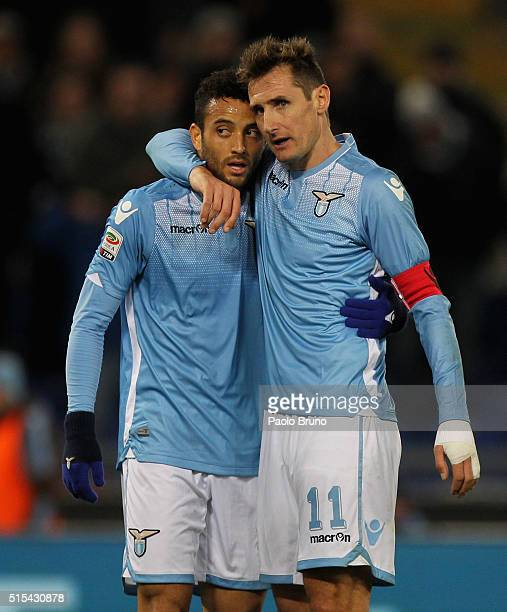 Miroslav Klose with his teammate Felipe Anderson of SS Lazio celebrates after scoring the team's second goal during the Serie A match between SS...