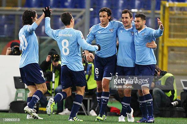 Miroslav Klose with his teammates of SS Lazio celebrates after scoring the opening goal during the Serie A match between SS Lazio and ACF Fiorentina...