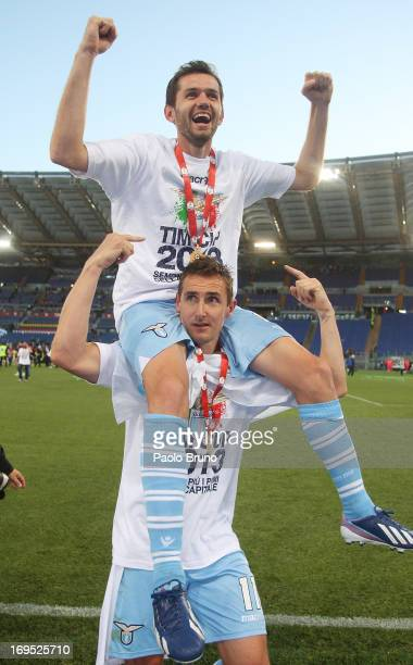 Miroslav Klose with Senad Lulic of SS Lazio celebrate after winning the Tim cup final against AS Roma at Stadio Olimpico on May 26, 2013 in Rome,...