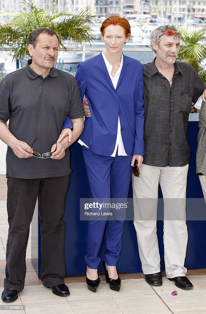 Miroslav Krobot, Tilda Swinton and Janos Derzsi during 2007 Cannes Film Festival - 'The Man From London' Photocall at Palais des Festival in Cannes, France.