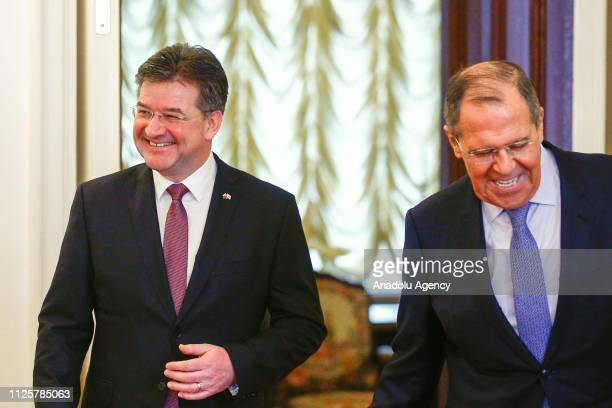 Miroslav Lajcak OSCE ChairpersoninOffice and Slovakia's Foreign Minister meets Russian Foreign Minister Sergey Lavrov in Moscow Russia on February 19...