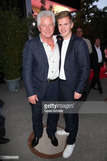 Miroslav Nemec and Ferdinand Hofer during the Bavaria Film Reception One Hundred Years in Motion on the occasion of the 100th anniversary of the...