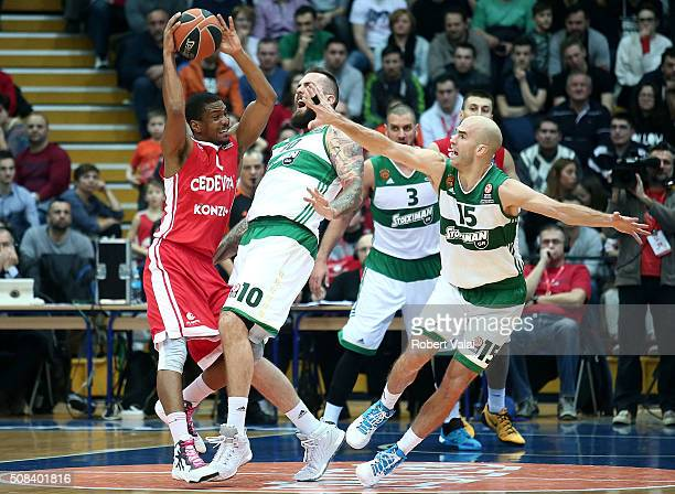 Miroslav Raduljica #10 and James Gist #14 of Panathinaikos Athens competes with James White #4 of Cedevita Zagreb during the Turkish Airlines...
