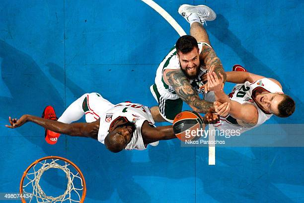 Miroslav Raduljica #10 of Panathinaikos Athens competes with Andrey Zubkov #20 of lokomotiv Kuban Krasnodar during the Turkish Airlines Euroleague...