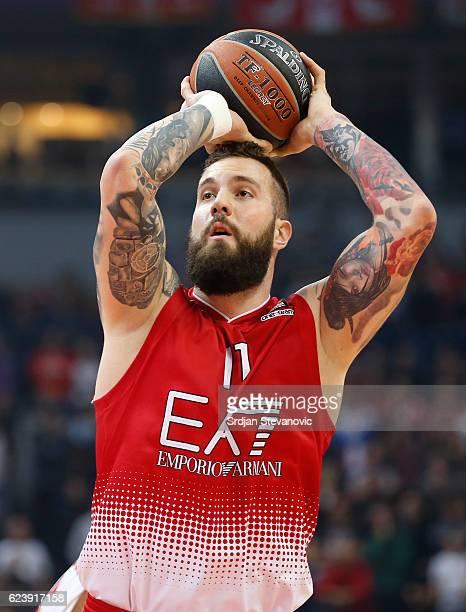 Miroslav Raduljica of Armani in action during the 2016/2017 Turkish Airlines EuroLeague Regular Season Round 8 game between Crvena Zvezda MTS...