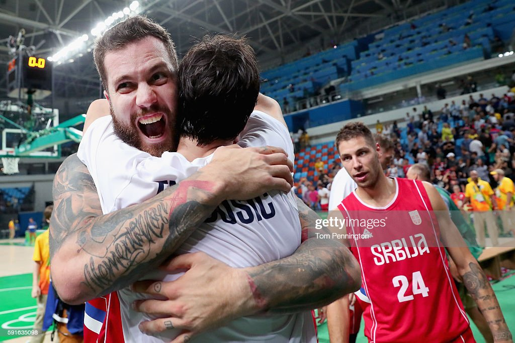 Miroslav Raduljica #13 of Serbia celebrates after beating Croatia during the Men's Basketball Quarterfinal game at Carioca Arena 1 on Day 12 of the Rio 2016 Olympic Games on August 17, 2016 in Rio de Janeiro, Brazil.