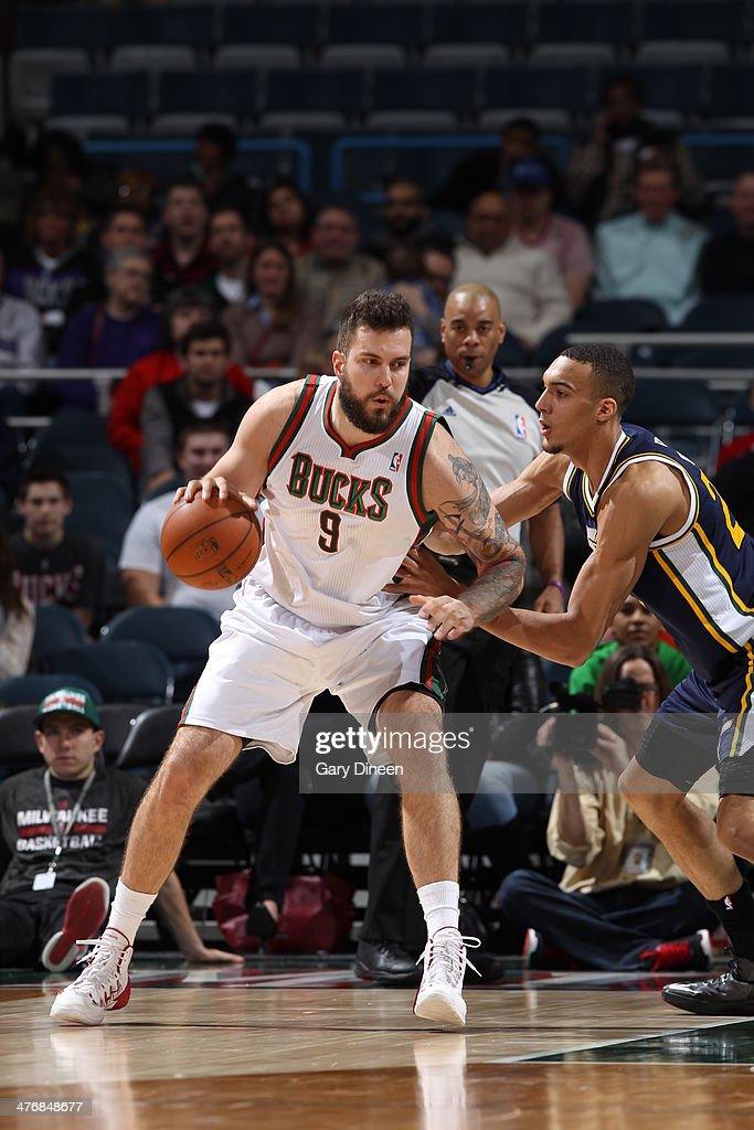 Miroslav Raduljica #9 of the Milwaukee Bucks handles the ball against the Utah Jazz on March 3, 2014 at the BMO Harris Bradley Center in Milwaukee, Wisconsin.