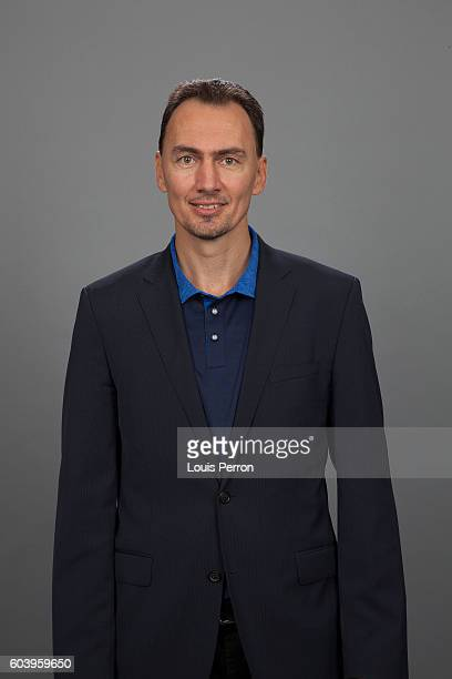 Miroslav Satan, General Manager of Team Europe, poses for his official World Cup of Hockey head shot at the Videotron Center on September 6, 2016 in...