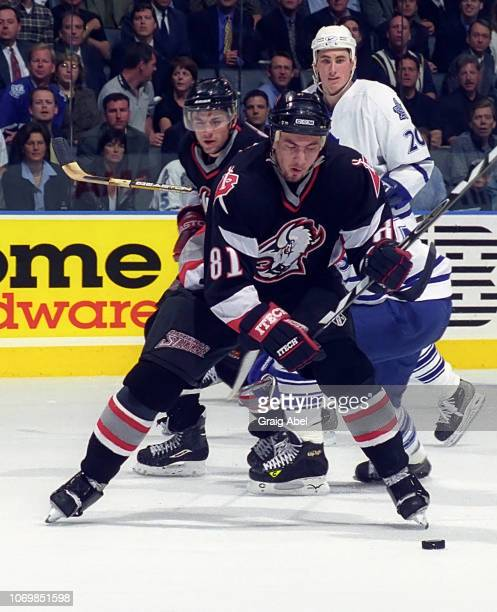 Miroslav Satan of the Buffalo Sabres skates against the Toronto Maple Leafs during the 1999 NHL SemiFinal playoff game action at Air Canada Centre in...