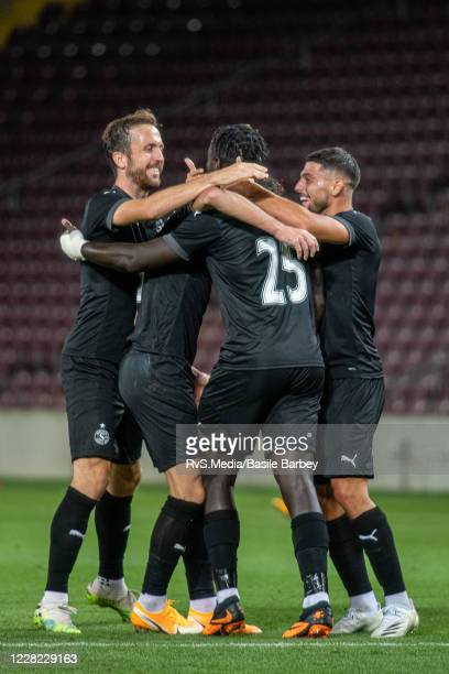 Miroslav Stevanovic of Servette FC celebrates with his teammates after scoring a goal during the UEFA Europa League qualification match between...