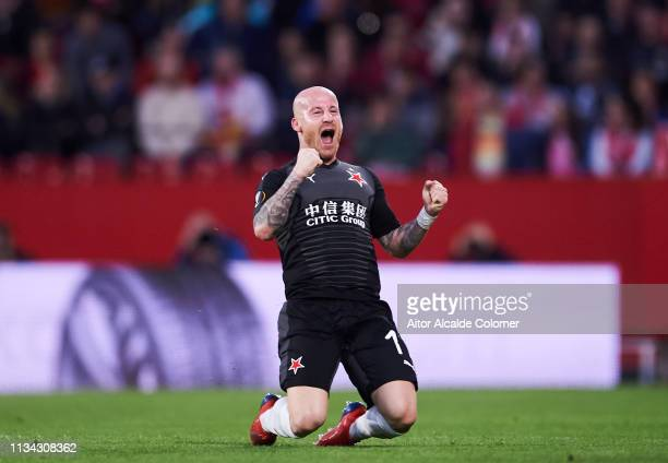 Miroslav Stoch of Slavia Prague celebrates after scoring a goal during the UEFA Europa League Round of 16 First Leg match between Sevilla and Slavia...