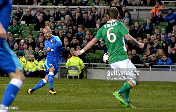 Miroslav Stoch of Slovakia scores during the international friendly match between the Republic of Ireland and Slovakia at Aviva Stadium on March 29...