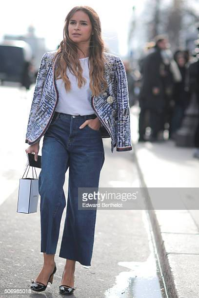 Miroslava Duma after the Chanel show during Paris Fashion Week Haute Couture Spring/Summer 2016 on January 26 2016 in Paris France