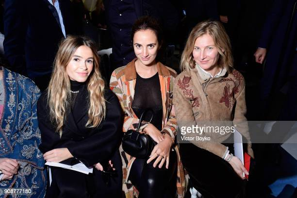 Miroslava Duma Alexia Niedzielski and Elizabeth von Guttman attend the Christian Dior Haute Couture Spring Summer 2018 show as part of Paris Fashion...